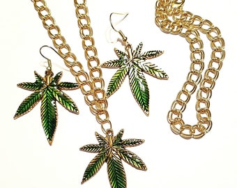 Gold and Green Enamel Mary Jane Jewelry Set