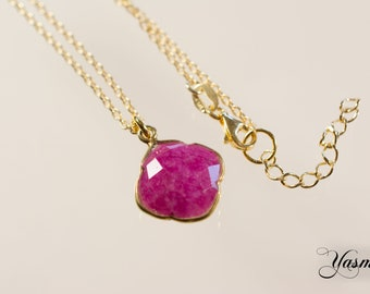Faceted Ruby with sterling silver gold plated