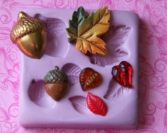 Silicone Leaf Mold, DIY Gift Maple Leaves, Leaf Silicone Mold, Acorn, Autumn, Polymer Clay, Resin Mold,  Fondant Chocolate Wax Soap Embed