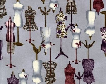 Purple and Burgundy Dressforms Cotton Fabric - [[by the half yard]]