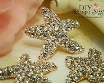 30mm Large Rose Gold Starfish Rhinestone buttons Flatback Metal Embellishment Bridal Wedding Supplies flower centers 3 pcs 200070