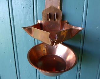 Copper Oil Burner, Hanging Oil Lamp, Vintage French Lighting