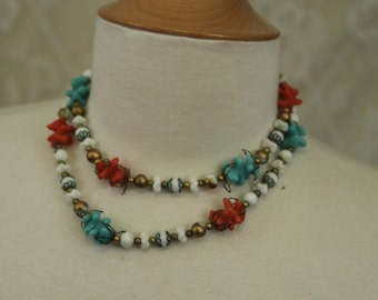 Coral and turquoise necklace - Beautiful choker with glass beads -- double strand with white and gold beads  SALE FREE SHIPPING
