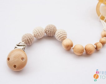 Wood Pacifier Clip   Organic Cotton, Juniper Wood   Soother Clip   Dummy Chain   Pacifier Chain   Baby Gift   Neutral Colors