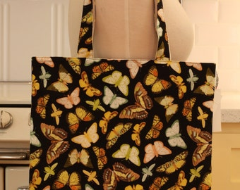 Book Bag Tote Purse - Butterflies on Black