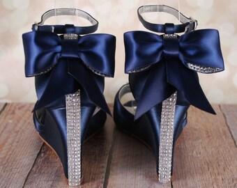 Navy Blue Wedding Shoes, Navy Blue Bridal Heels, Bow Wedding Shoes, Wedding Bling, Wedge Wedding Shoes, Wedges, Peep Toes, Blue Bridal Shoes