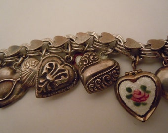 Puffy Heart Charm Bracelet Sterling Silver Collectible Charms