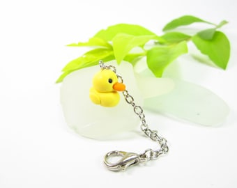 Duck Planner Charm, Planner accessories, animal charm, friend gifts for her women, bag zipper pull polymer clay rubber duckie notebook charm