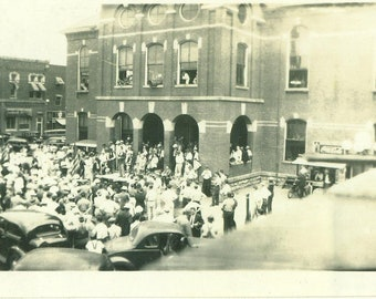 1936 Political Speech Candidate Man Giving Talk on Courthouse Steps Crowd Town Square 30s Vintage Photograph Black White Photo