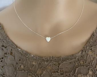 Opal heart necklace, heart necklace, silver necklace, opal necklace, white opal necklace, glistening necklace, fire opal neckla