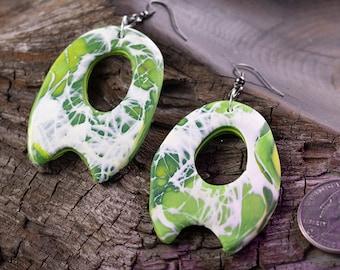 Green   White Large Earrings