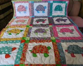 Handmade Pieced Multi Color Tortoise Turtle Baby Crib Lap Throw Quilt Blanket Made in the Arkansas Ozarks