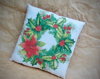 Christmas Pillow | Christmas decoration | Country Christmas decor | Handmade Christmas | Holiday Wreath PIllow | Holiday Farmhouse