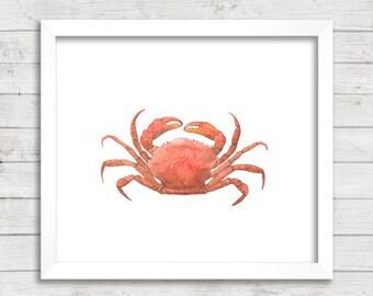 Crab Watercolor 8x10 Printable Wall Art, Instant Download, Ocean Art Print, Nautical Nursery, Ocean Nursery, Ocean Kids Room, Under The Sea