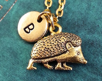 Hedgehog Necklace, Initial Necklace, Animal Necklace, Animal Jewelry, Engraved Necklace, Hedgehog Charm Necklace, Gold Necklace