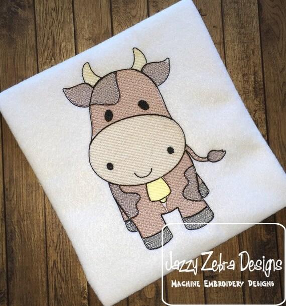 Cow Sketch Embroidery Design - farm Sketch Embroidery Design - heifer Sketch Embroidery Design