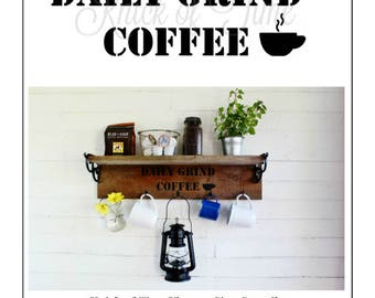 COFFEE STENCIL  Vintage Sign Stencil for painted signs, crates, pillows, DIY home decor