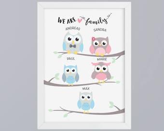 Owls family - unframed art print