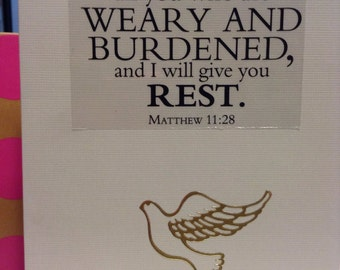Matthew 11:28 - Blank Note Card - Religious Card