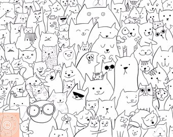 Art Print Black and White Cat