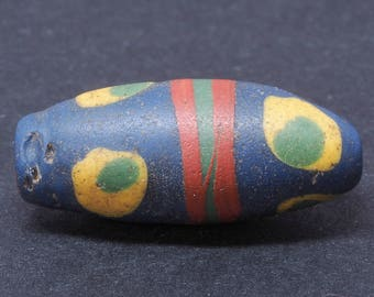 Antique venetian fancy glass trade bead. 21 x 9 mm. African Trade. Tribal, ethnic jewelry