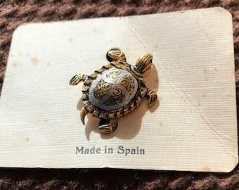 Vintage Toledo Damascene Link Turtle Brooch, Spain