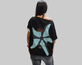 Black loose summer top / women open back starfish top / organic cotton women top /short sleeves black top / summer top /light blue starfish