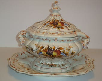Large Vintage 5 Piece Soup Tureen w/ Ladle and Platter - Made in Italy