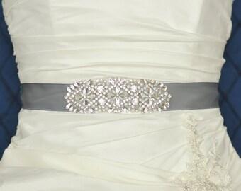 HAILEY Wedding Belt, Bridal Belt, Wedding Sash, Bridal Sash, Crystal Rhinestone Belt, Wedding Dress Sash Belt, Jeweled Beaded Belt GRAY