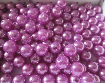 10 lilac acrylic beads 8 mm imitation pearls