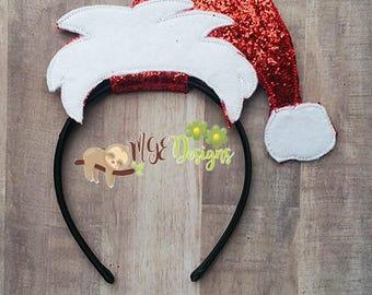 Santa Hat Headband Slider Machine Embroidery Design Digital Download 5x7 Hoop ONLY  Chrismas parties, dress up, pretend play, cosplay