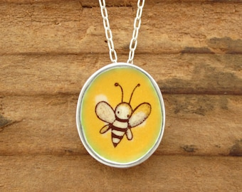 Bee Necklace - Sterling Silver and Vitreous Enamel Bee Pendant