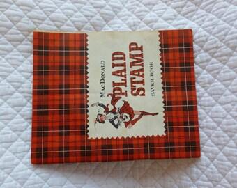 MacDonald Plaid Stamp Saver Book Redemption Stamps Vintage Ephemera Scrapbook Altered Art Mixed Media Art Supply Craft Supply Book C