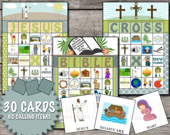 Christian Bible Bingo 30 Printable Cards INSTANT DOWNLOAD