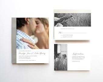 Wedding Invitation Suite, Modern Wedding Invitation Set, Unique Wedding Invitation, Wedding Invitation Printable, Photo Wedding Invitation