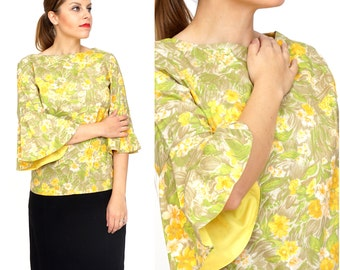 Vintage 1960s/70's Yellow Floral Print Top with Bell Sleeves by Judy Ann | Medium