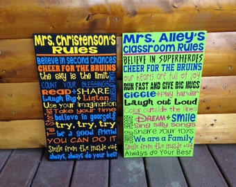"""SALE Personalized Wooden Teacher Classroom Sign 12x20"""""""