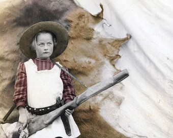 Prairie Girl Cowgirl Animal pelt Gun Rifle Knife tinted fine art photograph Western Vintage photo
