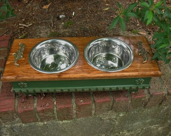Elevated Dog  Bowl or Cat Bowl Pet Feeder Pine Green with Provencial Stain Two - One Quart Stainless Bowls - Made To Order
