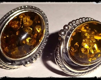 Antique Oval Baltic Amber Sterling Silver Stud Earrings