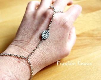 Slave bracelet bloom Silver Boho vintage flower plain romantic ring bracelet