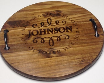 Personalized Serving Tray, Personalized Serving Platter, Wine Barrel Tray, Wood Tray, Rustic Tray, Wedding Gifts, WoodenThatBeFun