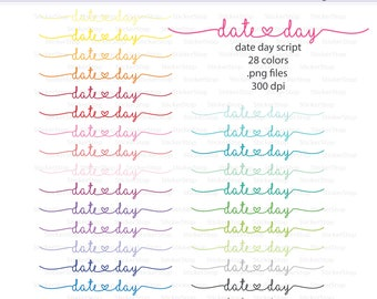 Day Date Script Icon Digital Clipart in Rainbow Colors - Instant download PNG files