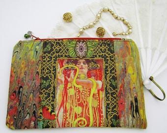 Art Nouveau Klimt Hand Marbled Zipper Purse with an Art Nouveau Maiden, framed with hand marbled fabric. Custom & handmarbled fabrics.
