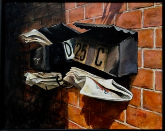 2 Mailboxes, acrylic on canvas painting, wall art, fine art