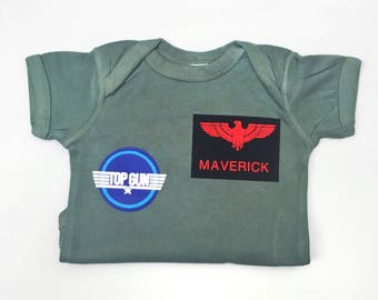 Top Gun Bodysuit, Maverick Costume, Personalized Baby Gift, Toddler Costume, Air Force Costume, Military Gift, Baby Boy Clothes, Kids