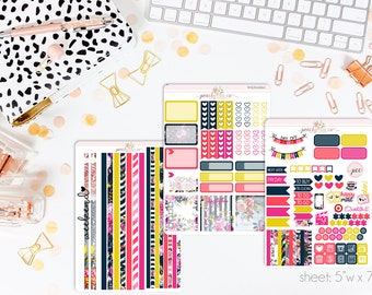 Whitney HORIZONTAL Weekly Kit // 130+ Matte Planner Stickers // Perfect for your Erin Condren Life Planner // WKH0660