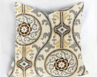 Decorative Pillow Cushion Cover - Accent Pillow - Throw Pillow - OH Suzani Metal