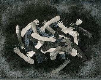 Original mixed media drawing - Untitled 140806
