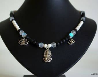 Black and White Ganesha Necklace, Yoga Jewelry, Healing Jewelry, Gemstone Jewelry